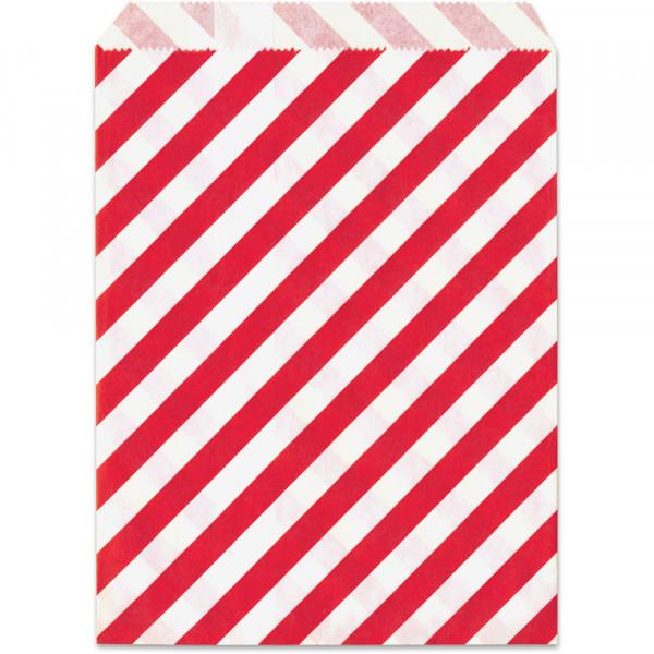 Papier-Geschenktüte, rot, gestreift, 13x16,5cm, 25 Stück