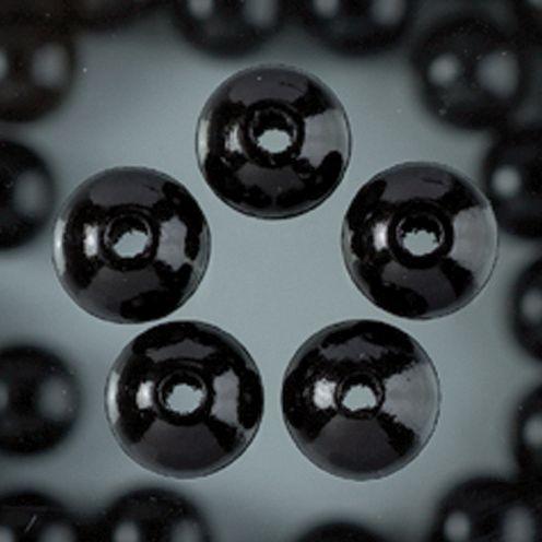 Holzperlen 14mm, 18 Stück - schwarz