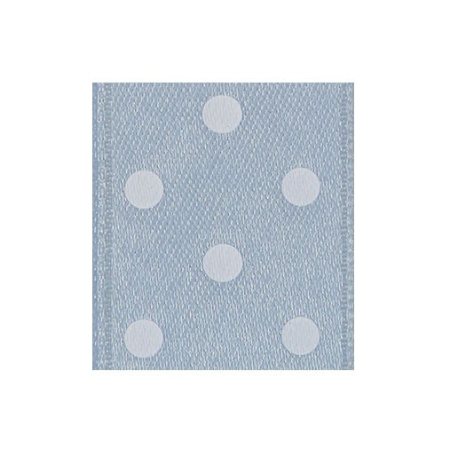 Satinband Punktedruck - doppelseitig, 10mm - altblau