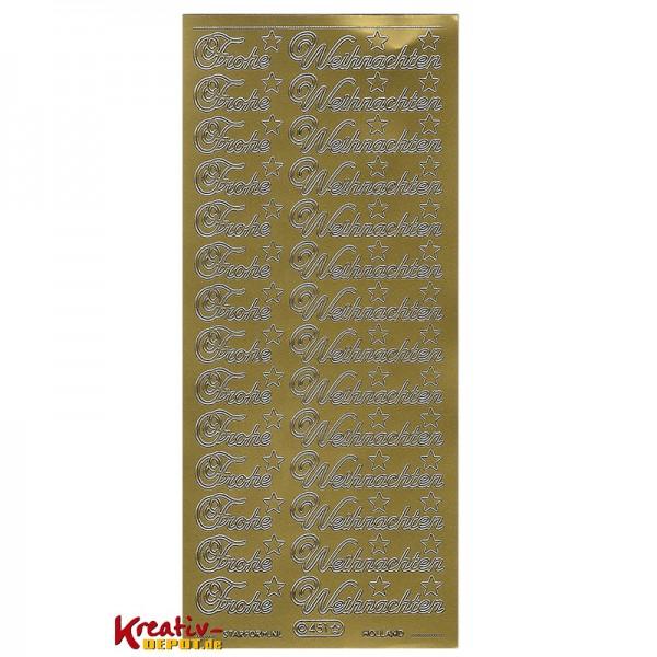 Frohe Weihnachten F303274r Kunden.Sticker Frohe Weihnachten Gold