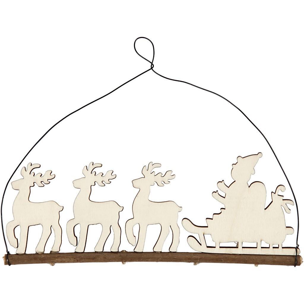 Weihnachtsschmuck, Schlitten mit Rentieren | Kreativ-Depot