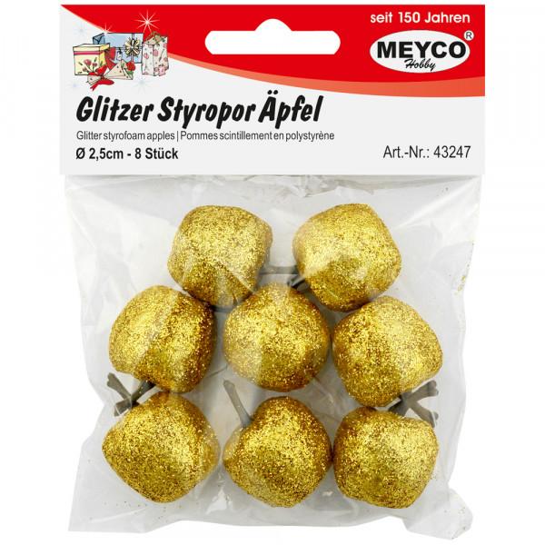 Glitzer-Styropor-Äpfel, gold, 2,5cm, 8 Stk