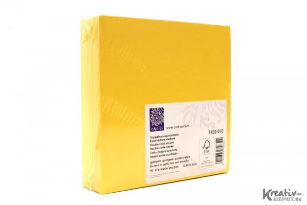 Doppelkarten, quadratisch, 13,5x13,5 cm, 50 Stück, goldgelb