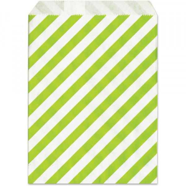 Papier-Geschenktüte,grün, gestreift, 13x16,5cm, 25 Stück