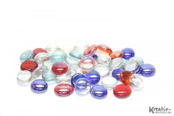 Glas-Nuggets, 200 g, Ø ca. 2 cm, Mix irisierend
