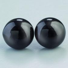 Tieraugen mit Öse, Glas, schwarz, Ø 12 mm, 50 Stück