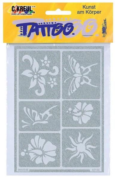 Hobby Line Tattoo-Schablone Sonne, Blumen, Schmetterlinge
