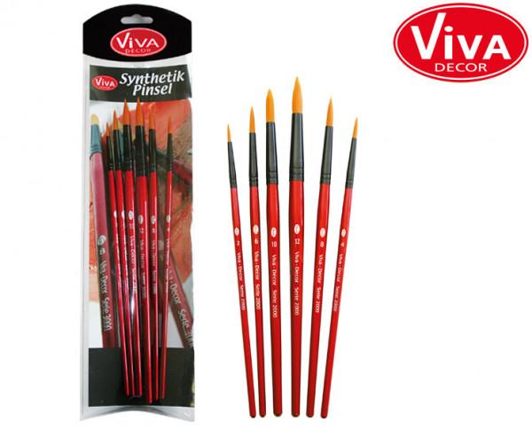 Viva Decor Synthetik-Pinsel-Set Serie 3000, 6 Stück, spitze Form