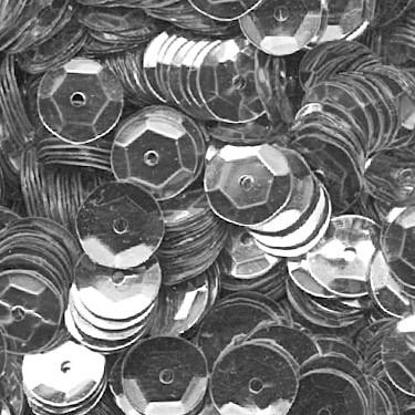 Pailletten, rund, gewölbt, 6 mm, 1400 St, silber