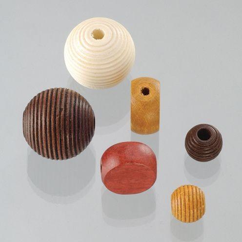 Holzperlen Formen-Mix braunmix, ca. 6-20 mm - 25 Stück