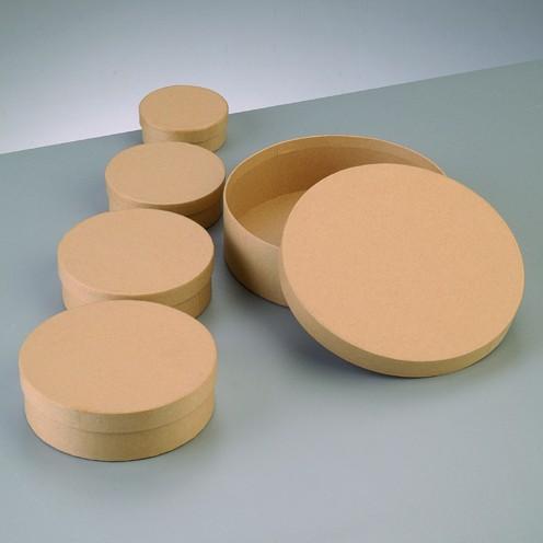 Boxen-Set Rund, aus Pappmaché, 5-teilig