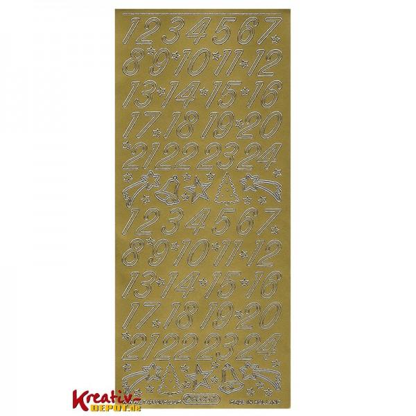 Sticker Zahlen 1-24 + Weihnachtsmotive - gold