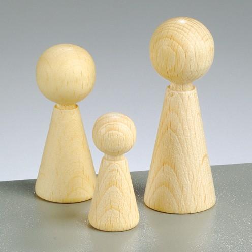 Figuren-Kegel, aus Holz, 60 x 23 mm, 3 Stück
