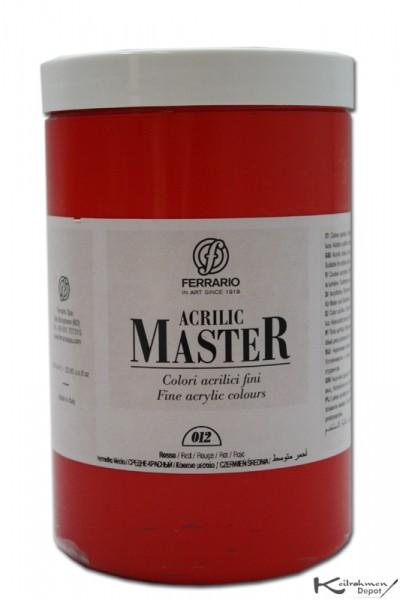 Ferrario Acrilic Master Acrylfarbe, 1000 ml, Mittelrot