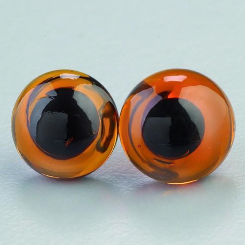 Tieraugen mit Öse, Glas, braun, Ø 12 mm, 4 Stück