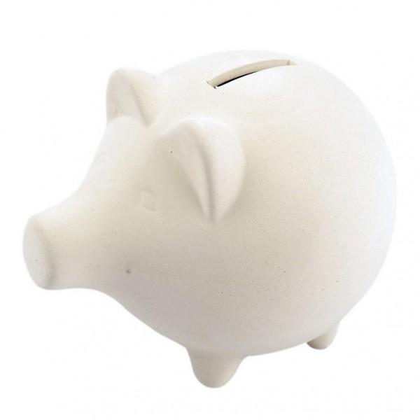 Sparschwein aus Terrakotta, 11 x 13 cm, creme
