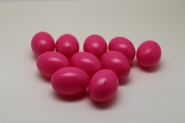 Kunststoff-Eier / Plastikei, 6 cm, 10 Stück, pink
