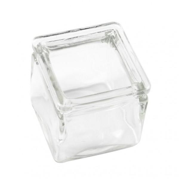 Glas, quadratisch, 5,5 x 5,5 cm, Höhe 5,5 cm