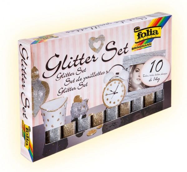 Glitter-Set, 10 Röhrchen à 14 g, gold/silber