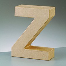 Buchstabe Z, 5x2 cm, aus Pappmaché