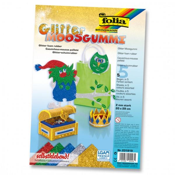Glitter-Moosgummi, 5 Stück, 20x29 cm, 2 mm, Farbsortierung 2