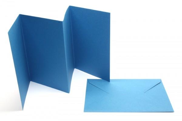 Leporello-Karten, 3 Karten, 3 Kuverts, mittelblau