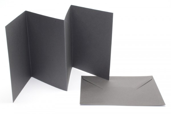 Leporello-Karten, 3 Karten, 3 Kuverts, anthrazit