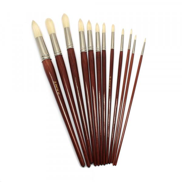 Borstenpinsel, Rundpinsel Set, Nr. 2-24, langer Stiel, 12 Stück sort.