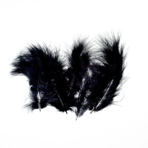 Marabufedern, ca. 10 cm, 20 St, schwarz