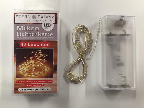 40er Lichterkette Basics LED Mikro, m. Batterie, Warmweiß, silberfarbiger Draht