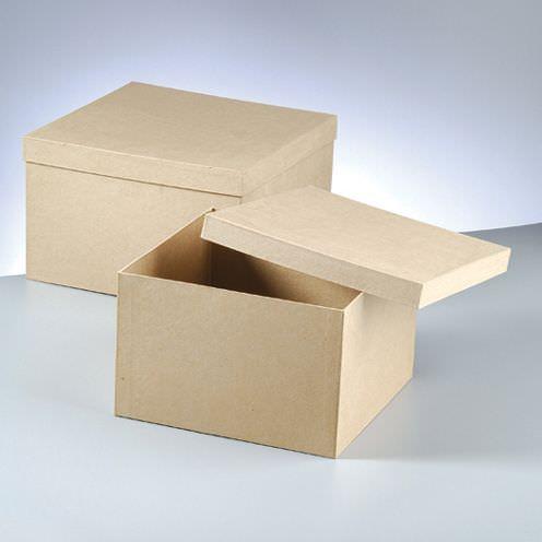 Boxen-Jumbo-Set Quadrat, aus Pappmaché, 2-teilig