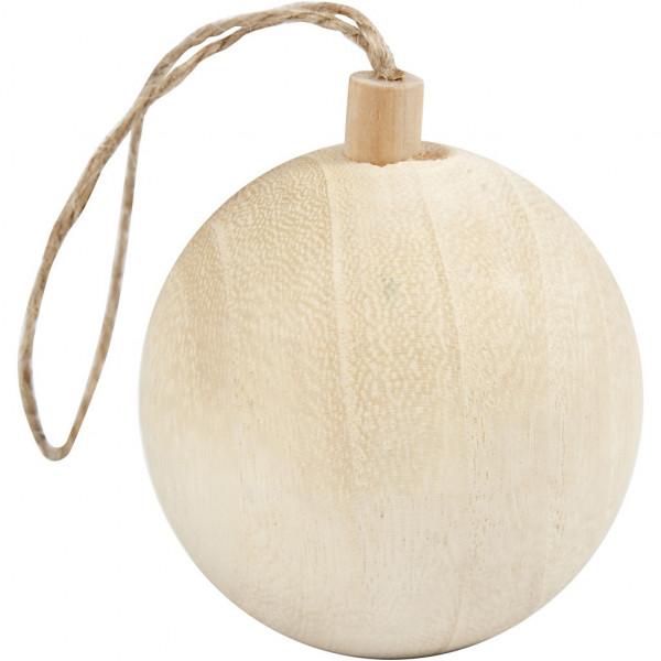 Weihnachtsschmuck, Kugel aus hellem Holz, Ø 4,8 cm