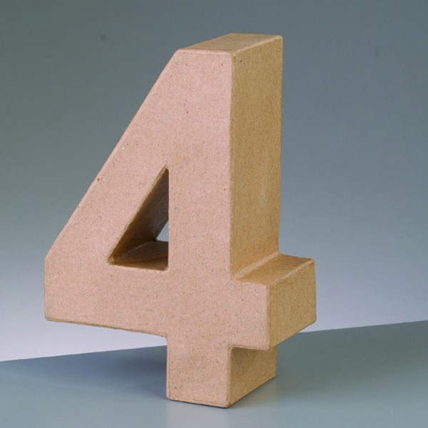 Zahl 4, 17,5 x 5,5 cm, aus Pappmachè