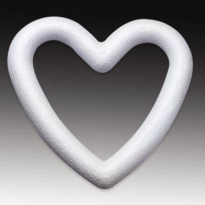 Styropor-Herz, weiß, Herzring 20 cm