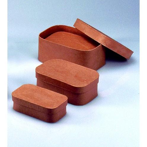 Boxen-Set Rechteck, aus Pappmaché, 3-teilig