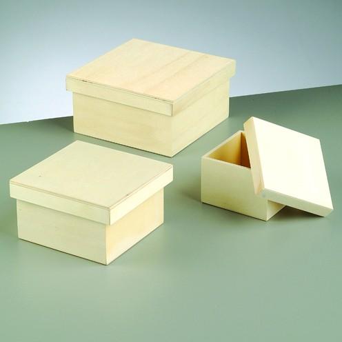 Holzkisten-Set, 3-teilig, 16 x 16 x 8 cm