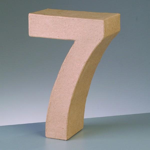 Zahl 7, 17,5 x 5,5 cm, aus Pappmachè