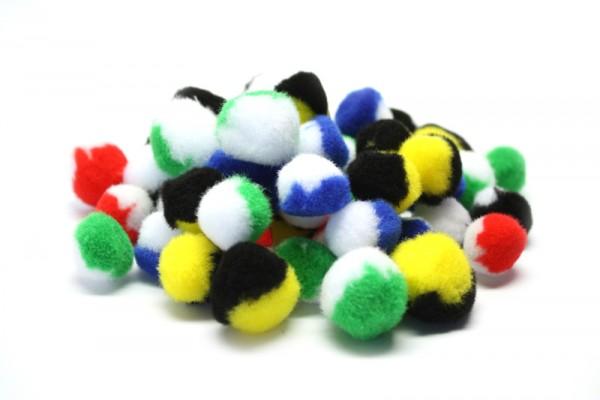 Pompons-Mix, Ø 2 cm und 3 cm, 50 Stück, 2-farbig sortiert