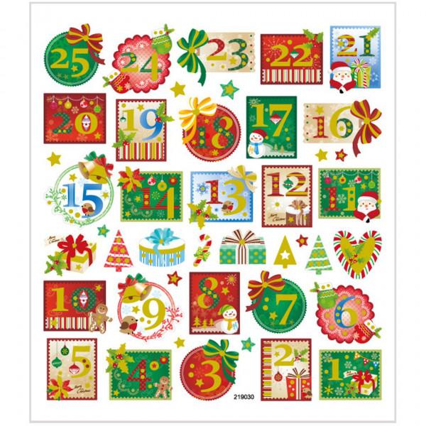 Sticker, Blatt 15x16,5 cm, ca. 43 Stck, Zahlen für Adventskalender