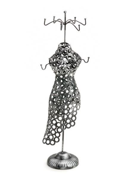 Metallschmuckständer Puppe, 48 cm, altsilber