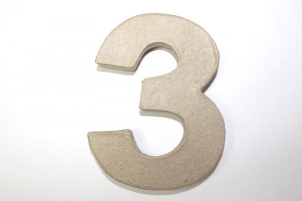 Zahl 3, 10 x 1 cm, aus Pappmachè