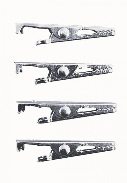 Krokodilklammer, 39 mm, 4 Stück, platin