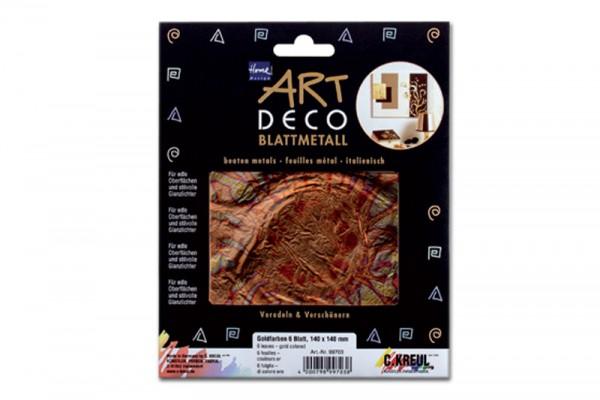 ART DECO Blattmetall, 6 Blatt, 14x14 cm, geflammt Rot-Gold