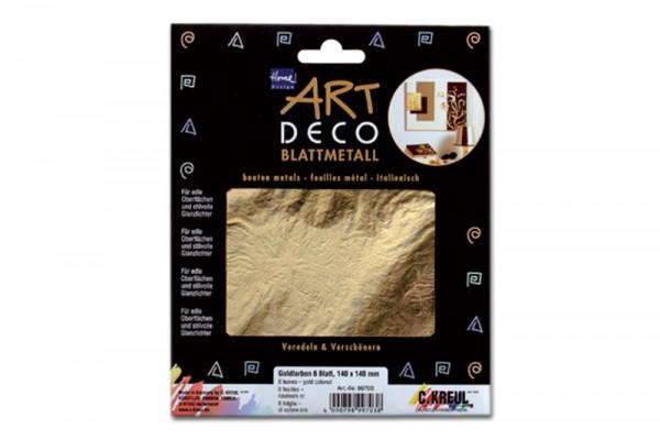 ART DECO Blattmetall, 25 Blatt, 14x14 cm, Goldfarben