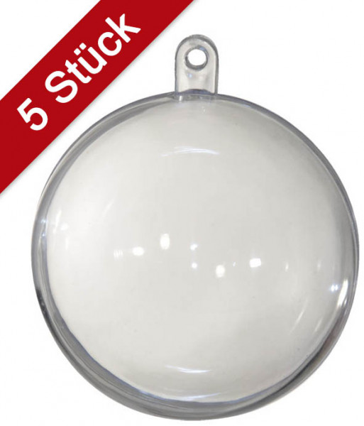 Kunststoffkugeln transparent, teilbar - 100 mm, 5 Stück