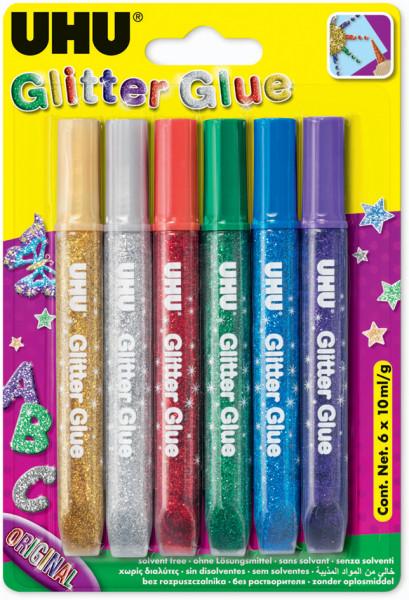 UHU Glitter Glue, 6 x 10 g