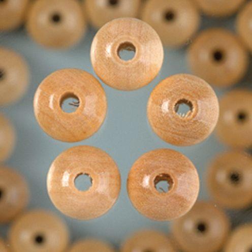 Holzperlen 14mm, 18 Stück - natur