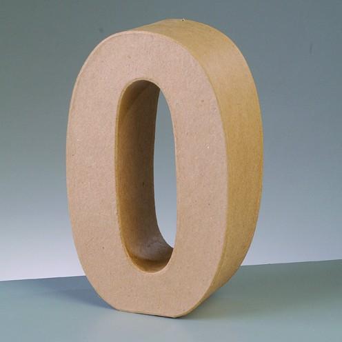 Zahl 0, 10 x 3 cm, aus Pappmaché
