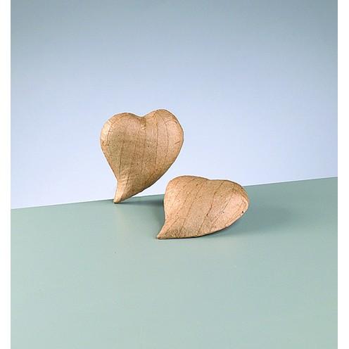 3D-Element Herz geschwungen, aus Pappmachè, 9,5 x 7,5 x 2 cm