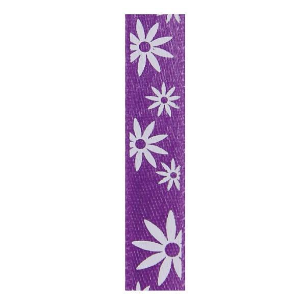 Satinband mit Blumenmuster, 10mm - purple